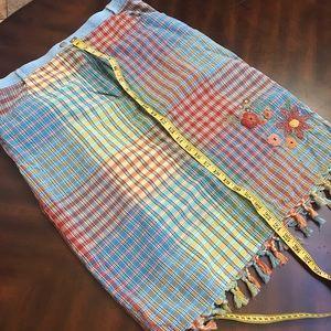 Susan Bristol Rainbow Plaid Floral Skirt Size 16